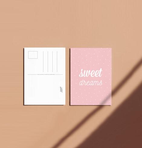 carte postale-sweet dreams deco enfant fille