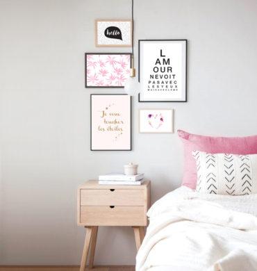 décoration murale chambre avec affiches design