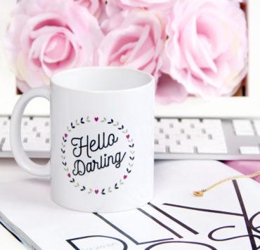 mug hello darling typographie