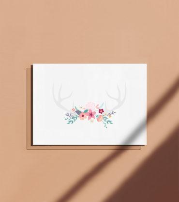 carte postale bois de cerf fleurs