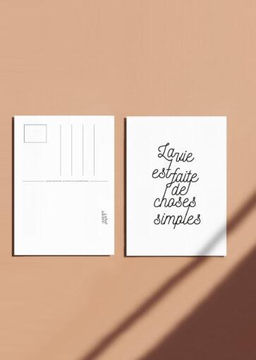 Carte postale La vie est faite de choses simples (fond blanc)