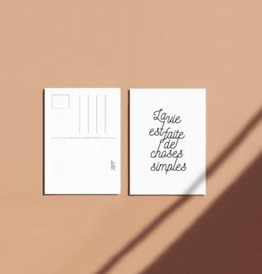 Carte postale la vie choses simples recto verso