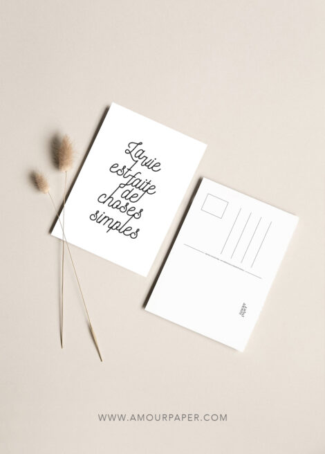 carte postale typo choses simples de la vie
