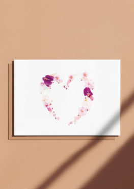 Carte postale Coeur fleuri