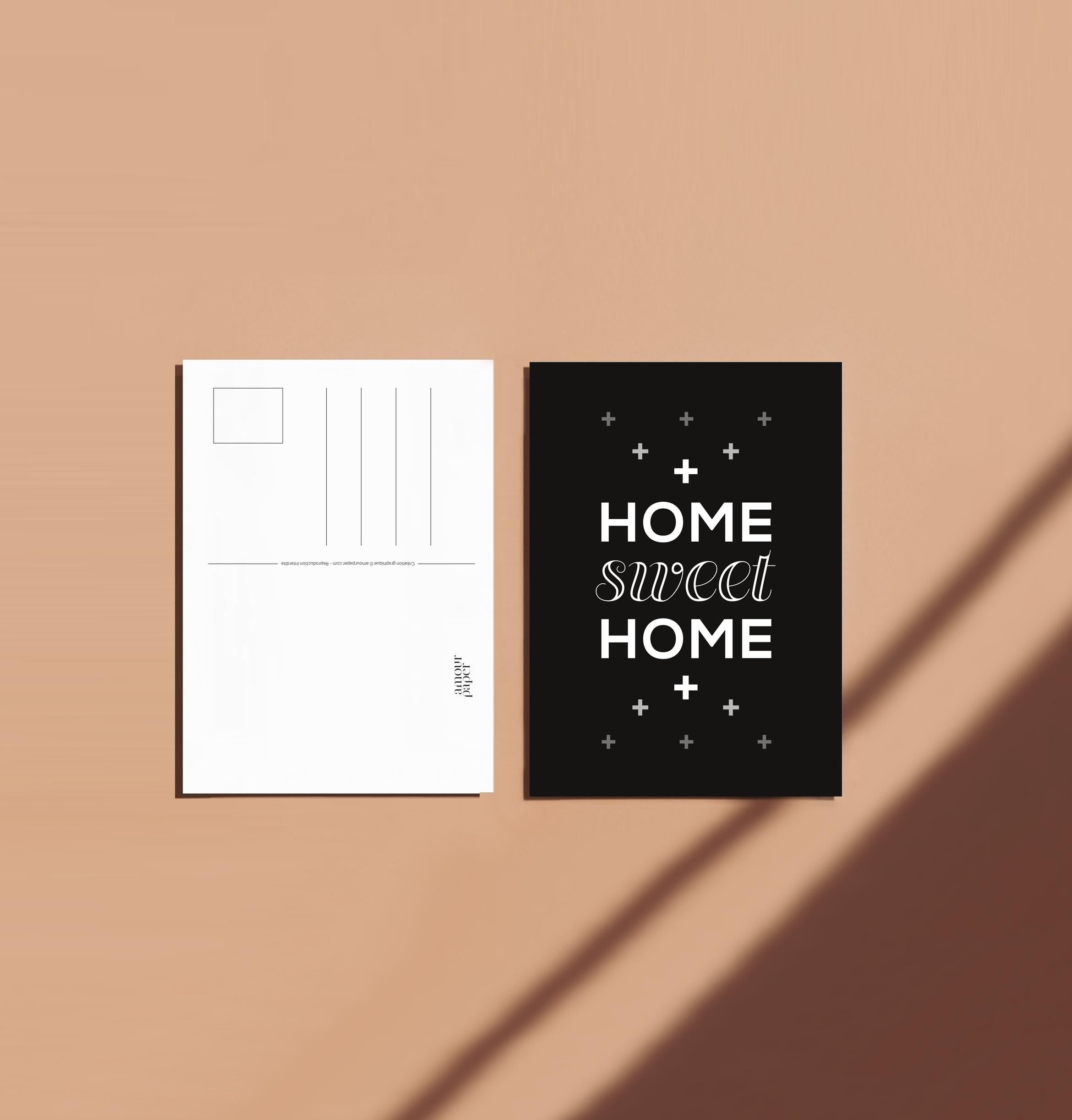 Carte postale home sweet home recto verso