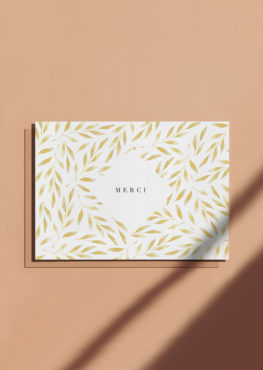 Carte postale de remerciement Merci doré