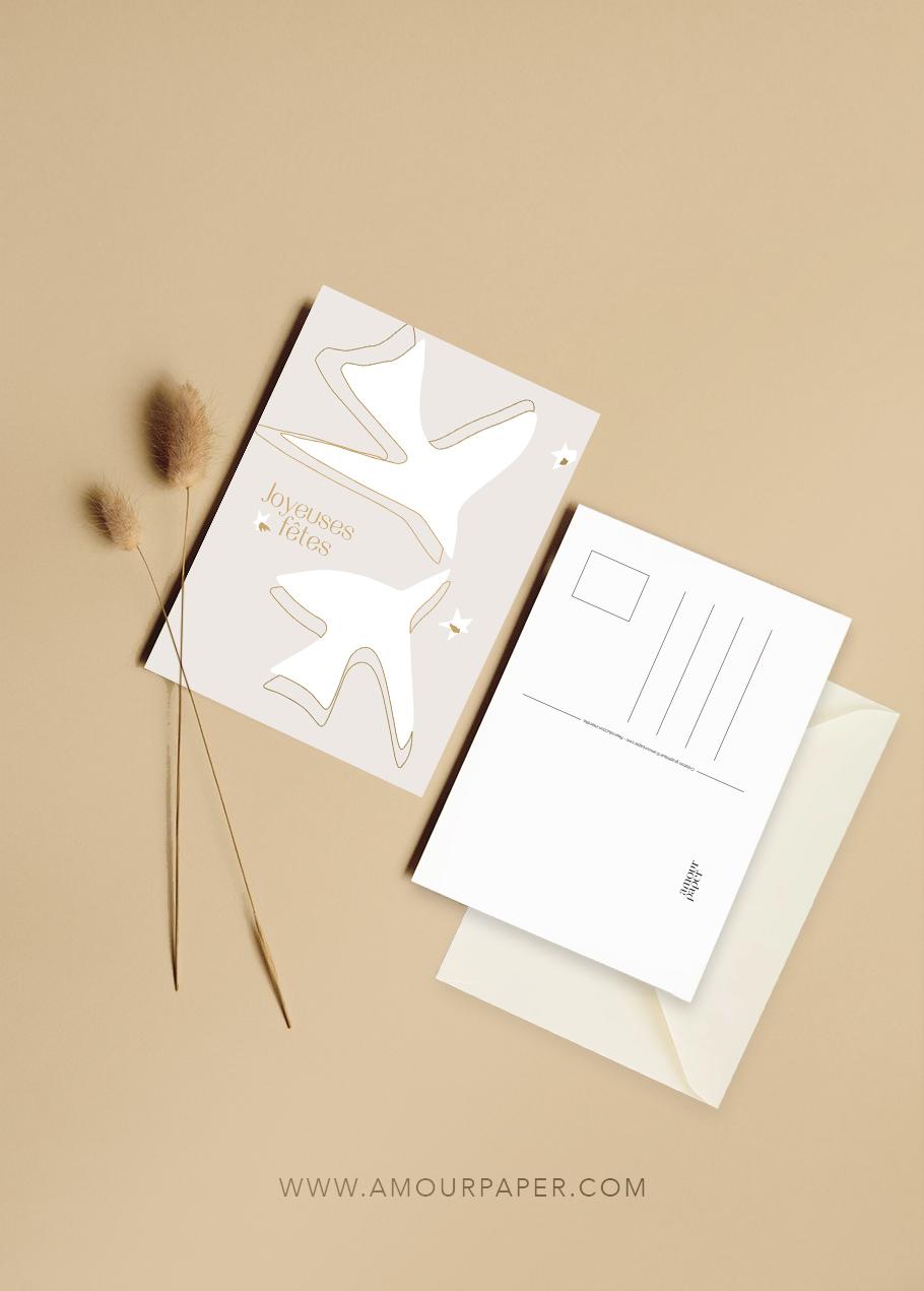 carte postale joyeuses fetes noel beige