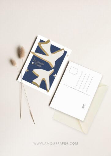 Carte postale Joyeuses fêtes – feuille d'or