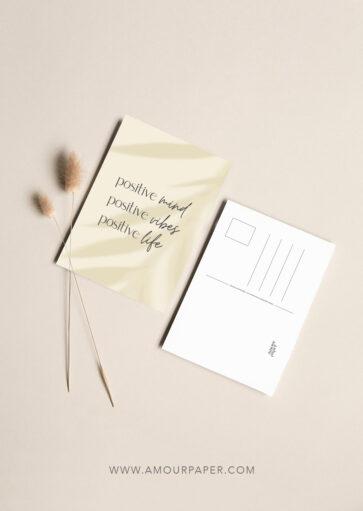 Carte postale Positive mind, positive vibes, positive life