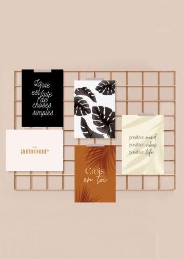 Lot de 5 cartes postales inspiration et motivation